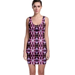 Purple White Flower Abstract Pattern Bodycon Dresses