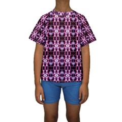 Purple White Flower Abstract Pattern Kid s Short Sleeve Swimwear by Costasonlineshop