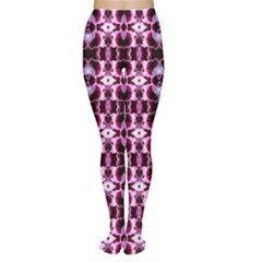 Purple White Flower Abstract Pattern Women s Tights by Costasonlineshop