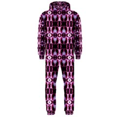 Purple White Flower Abstract Pattern Hooded Jumpsuit (men)