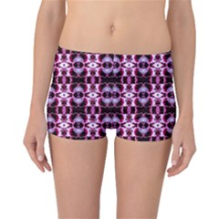 Purple White Flower Abstract Pattern Boyleg Bikini Bottoms