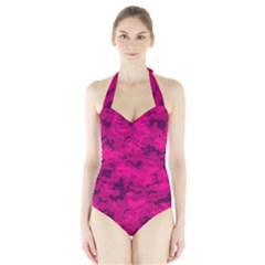 Pink Tarn Women s Halter One Piece Swimsuit