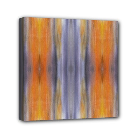 Gray Orange Stripes Painting Mini Canvas 6  X 6