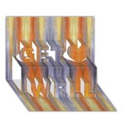 Gray Orange Stripes Painting Get Well 3d Greeting Card (7x5)  by Costasonlineshop
