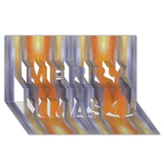 Gray Orange Stripes Painting Merry Xmas 3d Greeting Card (8x4)  by Costasonlineshop