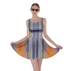Gray Orange Stripes Painting Skater Dresses