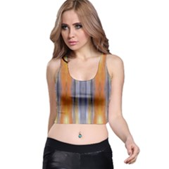 Gray Orange Stripes Painting Racer Back Crop Tops by Costasonlineshop