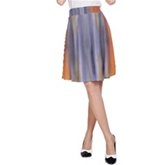 Gray Orange Stripes Painting A Line Skirt by Costasonlineshop