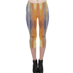 Gray Orange Stripes Painting Capri Leggings by Costasonlineshop