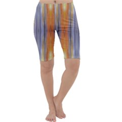 Gray Orange Stripes Painting Cropped Leggings