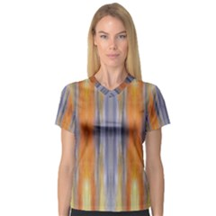 Gray Orange Stripes Painting Women s V Neck Sport Mesh Tee by Costasonlineshop