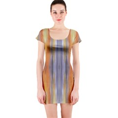 Gray Orange Stripes Painting Short Sleeve Bodycon Dresses by Costasonlineshop