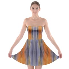 Gray Orange Stripes Painting Strapless Bra Top Dress