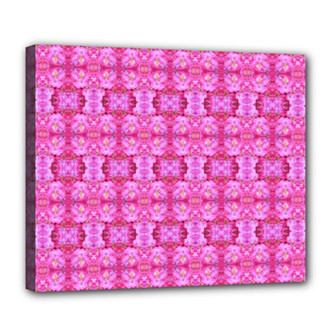 Pretty Pink Flower Pattern Deluxe Canvas 24  X 20