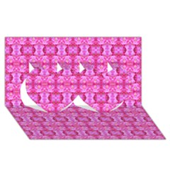 Pretty Pink Flower Pattern Twin Hearts 3d Greeting Card (8x4)