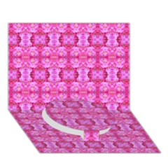 Pretty Pink Flower Pattern Circle Bottom 3d Greeting Card (7x5)