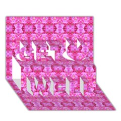 Pretty Pink Flower Pattern Get Well 3d Greeting Card (7x5)  by Costasonlineshop