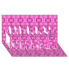 Pretty Pink Flower Pattern Merry Xmas 3D Greeting Card (8x4)  by Costasonlineshop