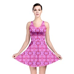 Pretty Pink Flower Pattern Reversible Skater Dresses