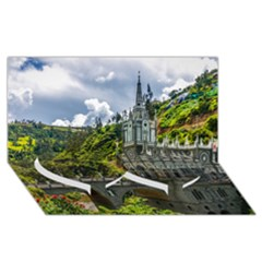 Las Lajas Sanctuary 1 Twin Heart Bottom 3d Greeting Card (8x4)  by trendistuff
