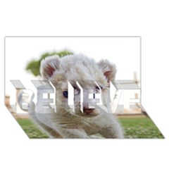 White Lion Cub Believe 3d Greeting Card (8x4)