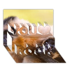 Two Monkeys You Rock 3d Greeting Card (7x5)