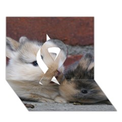 Small Baby Rabbits Ribbon 3d Greeting Card (7x5)  by trendistuff