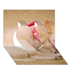 Adorable Sleeping Puppy Heart 3d Greeting Card (7x5)