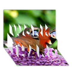 Peacock Butterfly Work Hard 3d Greeting Card (7x5)  by trendistuff