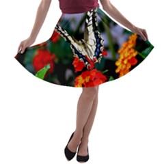 Butterfly Flowers 1 A Line Skater Skirt