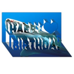 Great White Shark 3 Happy Birthday 3d Greeting Card (8x4)  by trendistuff