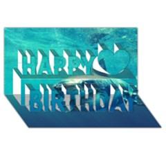 Great White Shark 1 Happy Birthday 3d Greeting Card (8x4)