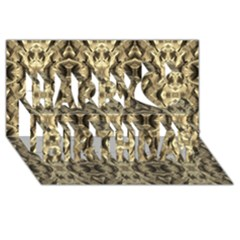 Gold Fabric Pattern Design Happy Birthday 3d Greeting Card (8x4)  by Costasonlineshop