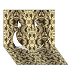 Gold Fabric Pattern Design Heart 3D Greeting Card (7x5)  by Costasonlineshop