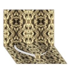Gold Fabric Pattern Design Heart Bottom 3d Greeting Card (7x5)