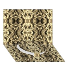 Gold Fabric Pattern Design Circle Bottom 3d Greeting Card (7x5)  by Costasonlineshop