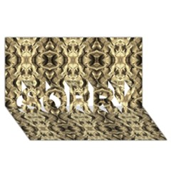 Gold Fabric Pattern Design SORRY 3D Greeting Card (8x4)  by Costasonlineshop