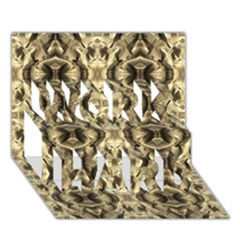 Gold Fabric Pattern Design Work Hard 3d Greeting Card (7x5)