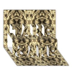 Gold Fabric Pattern Design Take Care 3d Greeting Card (7x5)