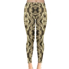 Gold Fabric Pattern Design Women s Leggings by Costasonlineshop