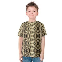 Gold Fabric Pattern Design Kid s Cotton Tee by Costasonlineshop