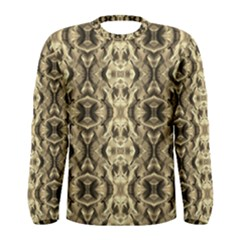 Gold Fabric Pattern Design Men s Long Sleeve T Shirts by Costasonlineshop