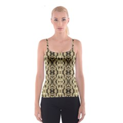 Gold Fabric Pattern Design Spaghetti Strap Tops by Costasonlineshop