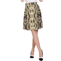 Gold Fabric Pattern Design A Line Skirt by Costasonlineshop