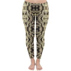 Gold Fabric Pattern Design Winter Leggings