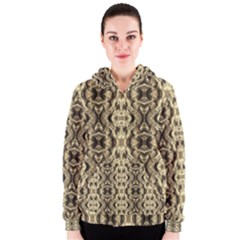 Gold Fabric Pattern Design Women s Zipper Hoodies by Costasonlineshop