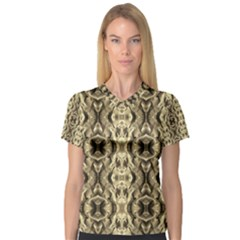 Gold Fabric Pattern Design Women s V Neck Sport Mesh Tee by Costasonlineshop