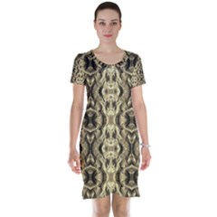 Gold Fabric Pattern Design Short Sleeve Nightdresses