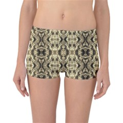 Gold Fabric Pattern Design Reversible Boyleg Bikini Bottoms