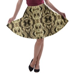 Gold Fabric Pattern Design A Line Skater Skirt by Costasonlineshop